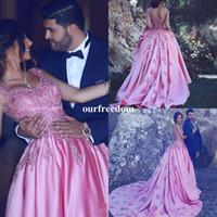 Wholesale Bright Art - 2017 New Arrival Bright Pink Arab Long Evening Dress Vintage A-Line Lace Vestido De Noiva Elegant Appliques Robe De Soiree