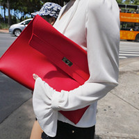 Wholesale Simple Fashion Stylish - Stylish new casual simple big envelope woman hand clutch leather bag