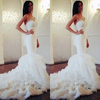 Wholesale Wedding Dresses Sweetheart Mermaid China - Gorgeous 2017 Sweetheart Lace Mermaid Wedding Dresses Tulle Organza Tiered Chapel Train Bridal Gowns Trumpet Custom Made China EF70611