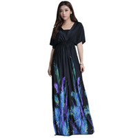 Wholesale Plus Size Womens Elegant Clothing - 2017 Womens Summer Elegant Boho Beach Clothing Ladies Bohemian Print Maxi Long Dress Plus Size 5XL 6XL