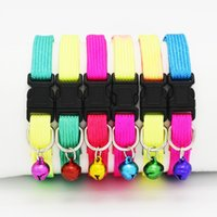 Wholesale dog collars cute for sale - Nylon Shiny Colors Puppy Chaplet Cute Adjustable Dog Leashes Comfortable Bells Small Pets Supplies Collars Top Quality sy B