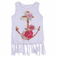 Wholesale Dresses Summer Sea - Girls sea anchor sleeveless tassels dress baby summer casual flower vest dress ins hot outfits for 1-6T