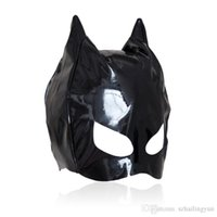 Wholesale half mask sex online - Hot sexy Female Sex Bondage Fetish Leather Mistress Cat Hood Adult Half Face Mask Masquerade Costume