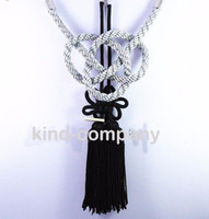 Wholesale Hanging Accessories For Car Mirrors - 2 In 1 China black Kiku Knot Gray Kin Rope decoration power For Car auto truck Rearview Mirror Vip Charms