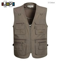 Wholesale Cotton Waistcoat For Men - Wholesale- Mens Oversized XL-5XL Outwear Sleeveless Vests Multipockets Photography Waistcoats For Male
