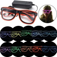 Wholesale Led Glowing Eyes - El Wire Glow Eye Glasses Led DJ Bright Safety Light Up Led flashing glasses Cool Halloween Christmas Birthday Party Eyewear Favors gift