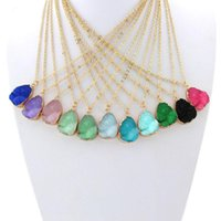 Wholesale Colour Necklace - Hot Popular Druzy Drusy Necklace Resin Waterdrop Crystal Stainless Steel Geometry Necklaces various 10 colours Best for Lady Mix Colors