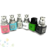 Wholesale Hell Free - 6 Colors Hellboy RDA Atomizer Rebuildable Drip Atomizer 12 holes Airflow Control Hell boy square body 22mm diameter Colorful DHL Free