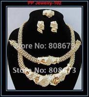 ingrosso grande insieme 925-Garanzia 100% di alta qualità !! 24K oro popolare riempito collana braccialetto dell'orecchino anello africano moda donna grandi insiemi dei monili