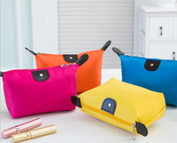 Wholesale Solid Color Clutch Bags - Candy Color Travel Makeup Bags Women's Lady Cosmetic Bag Pouch Clutch Handbag Hanging Jewelry Casual Purse Free DHL