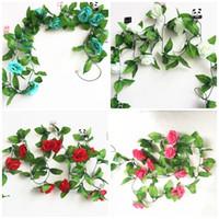 yapay yaprakları yeşil yaprak gül toptan satış-2.45 M Gül Çiçek Vines Düğün Parti Süslemeleri Makaleler Yapay Çiçek Çok Renkli 3 Için Yeşil Yapraklar 5ql C R