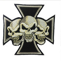 Wholesale Maltese Crosses - Fantastic Maltese Cross Devil Triple Skulls Christian Embroidered Patch Iron On Sew On Patch For Biker Clothing Jacket Vest Free Shipping