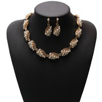 New Arrived Women Imitation Pearl Jewelry Set Gold Plated Simples e elegante Bridal Jewelry Sets Kit Gift Drop Shipping