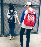 Wholesale Black White Canvas Backpack - New style off white boy backpack tide brand english wind retro bag backpack men and women couples package
