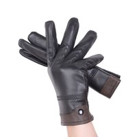 Wholesale Male Genuine Leather Gloves - Wholesale- Men Genuine Leather Gloves Black Plus Velvet Mittens Elastic Full Finger Windproof Guantes Winter Male Leather Gloves Business