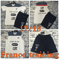 Wholesale Xxl Vests Men - Top Thai quality 2017 France team Training suit white vest short-sleeved soccer jersey tshorts shirt Size S-XXL 17 18 survetement football