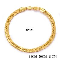 """Wholesale Cool Stamps - With """"18K"""" Stamp Chain Men Bracelet 6MM 18K Yellow Gold Plated Cool Bracelet for Man Long Lasting Color Preserving Allergy JN1043"""