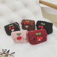 Cherry Girls Princesa Sacos Inverno Outono Cherries Fleece Crianças Mini Bags Korean Sweet Kids Messenger Bag Cute Change Purse C2518