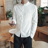 camisa tang kung fu al por mayor-2018 Primavera Hombres Camisa de lino de algodón Camisa de manga larga de Kung Fu Estilo chino clásico Tang Ropa Slim Fit Camisas transpirables para hombres