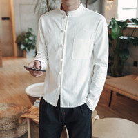 Wholesale Chinese Long Sleeve Clothes - 2018 Spring Men Cotton Linen Shirt Long Sleeve Kung Fu Shirt Classic Chinese Style Tang Clothes Slim Fit Breathable Men Shirts