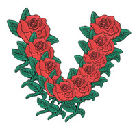 Wholesale Wholesale Jean Patches - BEAUTIFUL RED ROSE PLANT JACKET JEAN BAG Embroidered Iron on T-shirt or Bknit cap Beanies Patch + Free Shipping
