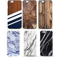Wholesale Wood Skin Iphone Case - Original Madera Wood Pattern Hard Case for fundas iphone 8 5 5S 6plus 6S Marble Pattern Soft TPU Vintage Bamboo Phone Case Skin