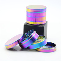 Wholesale Smoking Crusher - Beautiful 40mm 50mm 52mm 63mm Rainbow Grinder 4 Parts Grinder Zinc Alloy Wholesale Cheap Tobacco Herb Grinders Smoking Spice Crusher Grinder