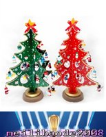 Wholesale red plastic christmas bells - Hot Sale Mini Wooden Christmas Tree Table Furnishing Articles Christmas Tree With Bell Small Snow Man Pendants Christmas Decorations L MYY