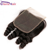 Wholesale remi curly - Bouncy Spiral Curly Top Closures Cheap Malaysian Remi Human Hair Aunty Funmi Swiss Lace Front Closure Piece Free Middle Three Part