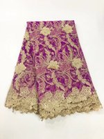 Wholesale purple voile african lace - High quality African voile lace fabric for sewing,Gorgous purple african lace fabric with stones for wedding dress NX200