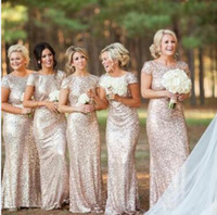 Wholesale Sparkle Long Party Dresses - Sparkling Rose Gold Bridesmaid Dresses 2017 High Quality Short Sleeve Backless Sequins Long Mermaid Bling Bling Party Gowns Custom Size