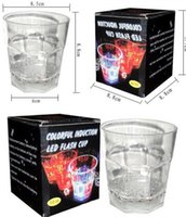 Wholesale Light For Drinking Bar - Transparent Octagonal Mug Colorful LED Light Luminous Cup Creative Water Induction Cup For Bar Night Club Drinking Tool 4 9jc C R