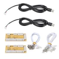 codificador usb al por mayor-Al por mayor-2Pcs / lot DIY Zero Delay Arcade USB Encoder PC Para Joystick Piezas de recambio USB Cable Encoder Board + Push Buttons Wire Cables