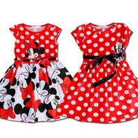 Wholesale Baby Hot Cap - 2017 Hot Sale Lovely Kids Baby Girls Minnie Mouse Dress Girls Summer Dot Dresses with Black Waist Band Cartoon Child Clothes