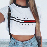 Wholesale Short Design Women - Wholesale- 2016 New Design Summer Tops Letter Printing Women Casual Crop Tops Loose Pullover Short Sleeve Round Neck Cotton Tops Shirt New