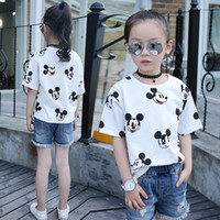 Wholesale Toddler Girl White T Shirt - Cute Cartoon Printed White Girl T Shirts 2017 Summer Hot Sale O Neck Short Sleeves Loose Casual Baby Toddler Tops Free Shipping