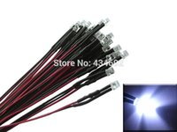 Wholesale Led Pre Cable - Wholesale- 20pcs 5mm White Flat Top Prewired led Pre-Wired resistors LED Light Lamp Bulb Cable Diodes DC12V For Boat Car Tree Decoration