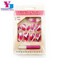 Wholesale Nail Salon Wholesale Set - Wholesale- Full Nail Tips UV Gel Art Designed Fake Nails Tips Acrylic Artificial Nails Tools Sets Professional Salon False Nail Manicure