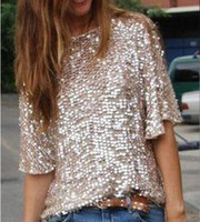 Wholesale Ladies Sparkle Shirts - Wholesale- Europe Hot Sexy Slash Neck Sequin Party Top Womens Lady Sparkle Glitter Tank 1 2 Sleeve Casual T-shirt S-5XL