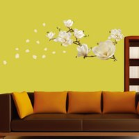 Wholesale Magnolia 3d Bedding - Wholesale- Removeable Waterproof Magnolia Flower DIY Art Mural Removable Wall Sticker Bed Home Decoration Decor