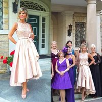 Wholesale Taffeta Pearl Pink - 2017 Blush Pink Lace Taffeta Mother Of The Bride Dresses Cheap Jewel Pearls Sequins Bow Sash High Low Wedding Dress Plus Sizes EN110912