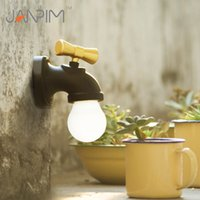 Wholesale mini water taps - Retro Water Tap Night Light Mini Light Sensor Sound Actived Faucet LED Wall Lamp USB Rechargeable LED Tap shape home outdoor Emergency Light