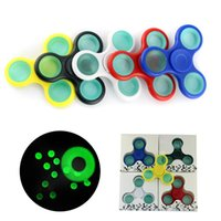 Wholesale Green C7 Bulbs - Newest Luminous Spinner Fidget Toy Plastic EDC Green Glow Hand Spinner For Autism and ADHD Anxiety Stress Relief Focus Toys Kids Gift