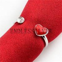 silberne herzeinstellungen großhandel-Netter Enamel Red Heart Ring Einstellungen 925 Sterling Silber jüngere Mädchen Schmuckzubehör für Pearl Party
