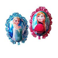 Wholesale Anna Mirror - 79*65cm Frozen Balloons Cartoon Princess Elsa Anna Mirror Aluminum Balloons Wholesale Foil Balloons