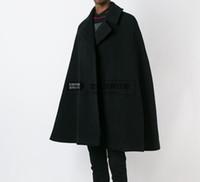 Wholesale Cape Overcoat - Wholesale- Customize style New fashion Men cape coat loose long woollen overcoat woolen cloth thick coat autumn winter clothing