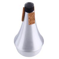 trombetas mutes venda por atacado-Alumínio Trombetas Retas Mudo Para Instrumento de Jazz Prática Iniciante Liga de Alumínio Trompete Mudo atacado