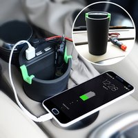 Wholesale Phone Car Mount Cigarette - WF-066 Multi-functional 3-USB Port Car Cigarette Charger Phone mount Holder Trash Can Ashtray storage Bucket