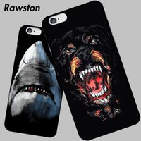 Купить Собаки Черные Чемоданы-Wild Monster Animal Hard Black Cover для iPhone 5 5s Case Rottweiler Dog Shark Tiger Drawing caso для iPhone 5 SE 6 6s