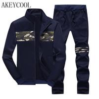 Wholesale Mens Sports Track Suits - Wholesale-New Zipper Jacket + Pants Hoodies Winter Mens Camouflage Sweat Hoodies Brand Mens Track suit Sets Fleece Sporting Suit 16j56